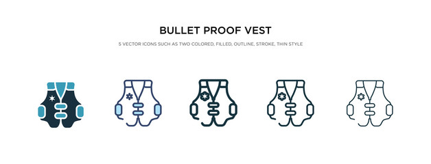 bullet proof vest icon in different style vector illustration. two colored and black bullet proof vest vector icons designed in filled, outline, line and stroke style can be used for web, mobile, ui