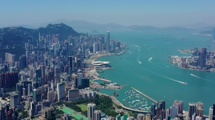 Fotomurales - Top view of Hong Kong city