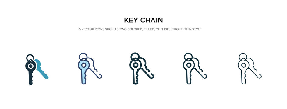 key chain icon in different style vector illustration. two colored and black key chain vector icons designed in filled, outline, line and stroke style can be used for web, mobile, ui