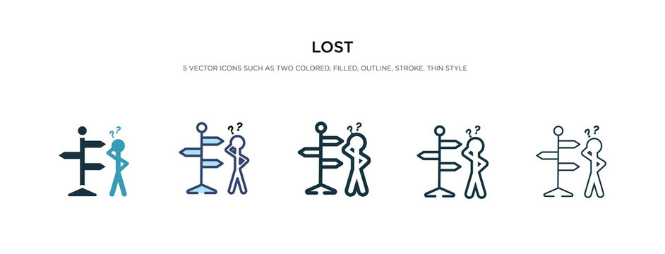 lost icon in different style vector illustration. two colored and black lost vector icons designed in filled, outline, line and stroke style can be used for web, mobile, ui