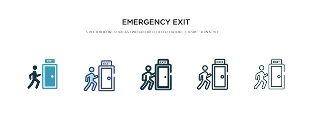 emergency exit icon in different style vector illustration. two colored and black emergency exit vector icons designed in filled, outline, line and stroke style can be used for web, mobile, ui