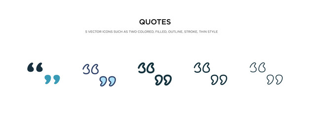 quotes icon in different style vector illustration. two colored and black quotes vector icons designed in filled, outline, line and stroke style can be used for web, mobile, ui