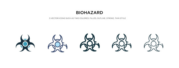 biohazard icon in different style vector illustration. two colored and black biohazard vector icons designed in filled, outline, line and stroke style can be used for web, mobile, ui