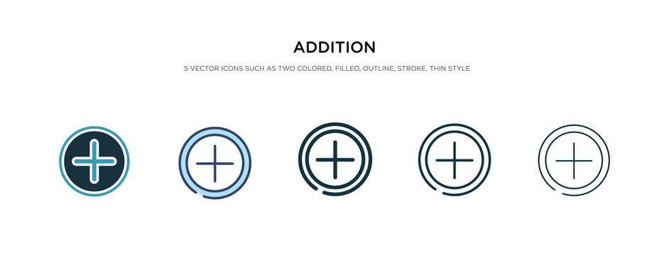 addition icon in different style vector illustration. two colored and black addition vector icons designed in filled, outline, line and stroke style can be used for web, mobile, ui