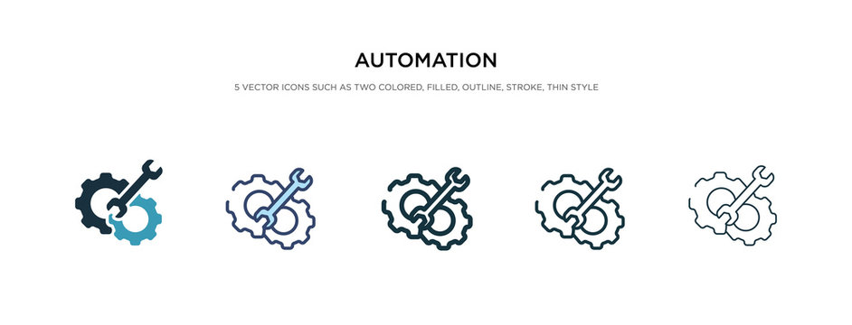 automation icon in different style vector illustration. two colored and black automation vector icons designed in filled, outline, line and stroke style can be used for web, mobile, ui
