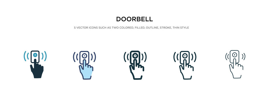 doorbell icon in different style vector illustration. two colored and black doorbell vector icons designed in filled, outline, line and stroke style can be used for web, mobile, ui