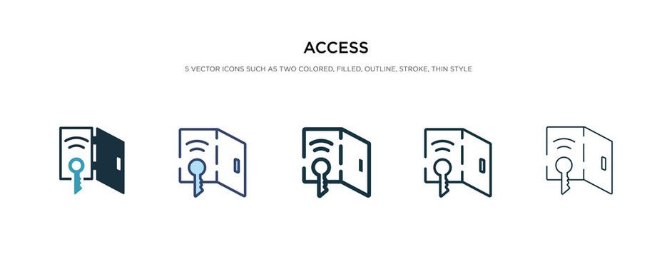 access icon in different style vector illustration. two colored and black access vector icons designed in filled, outline, line and stroke style can be used for web, mobile, ui