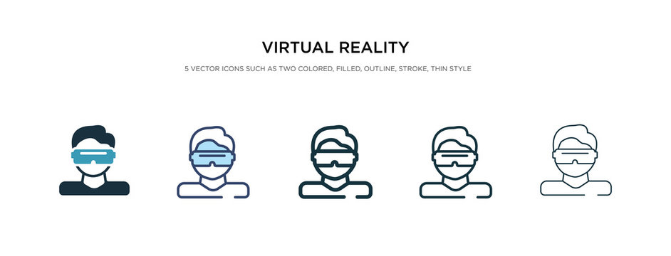 virtual reality icon in different style vector illustration. two colored and black virtual reality vector icons designed in filled, outline, line and stroke style can be used for web, mobile, ui