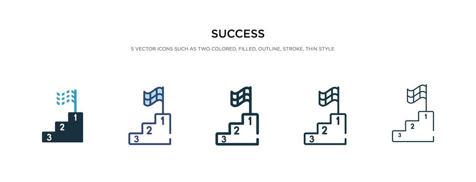 success icon in different style vector illustration. two colored and black success vector icons designed in filled, outline, line and stroke style can be used for web, mobile, ui