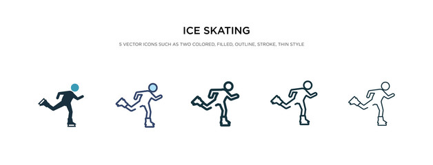ice skating icon in different style vector illustration. two colored and black ice skating vector icons designed in filled, outline, line and stroke style can be used for web, mobile, ui