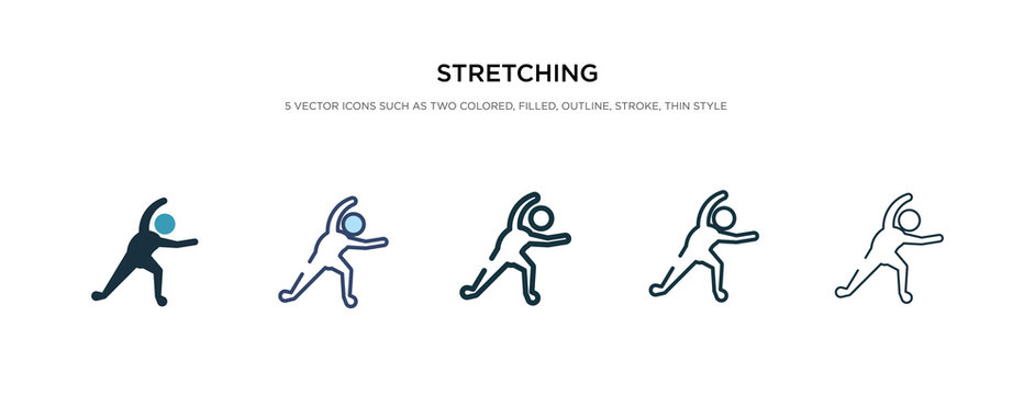 stretching icon in different style vector illustration. two colored and black stretching vector icons designed in filled, outline, line and stroke style can be used for web, mobile, ui
