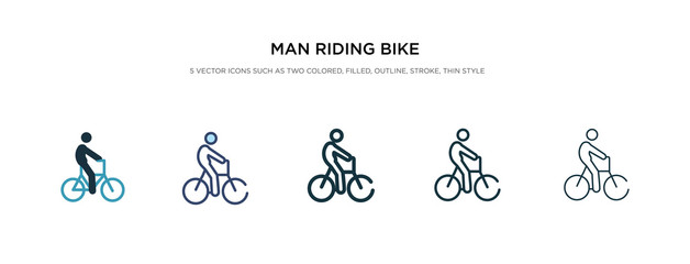 man riding bike icon in different style vector illustration. two colored and black man riding bike vector icons designed in filled, outline, line and stroke style can be used for web, mobile, ui