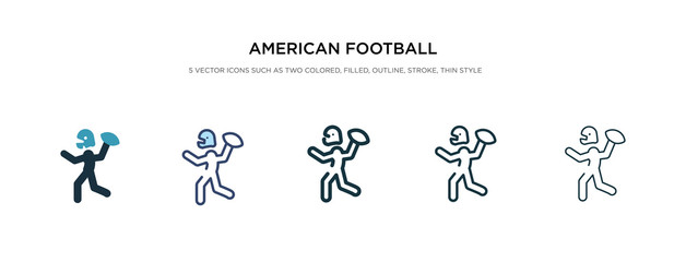 american football player playing throwing the ball in his hand icon in different style vector illustration. two colored and black american football player playing throwing the ball in his hand
