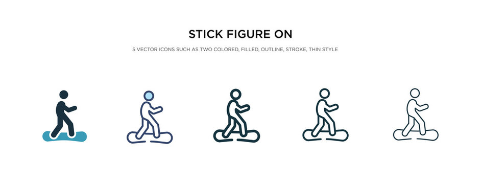 stick figure on snowboard icon in different style vector illustration. two colored and black stick figure on snowboard vector icons designed in filled, outline, line and stroke style can be used for