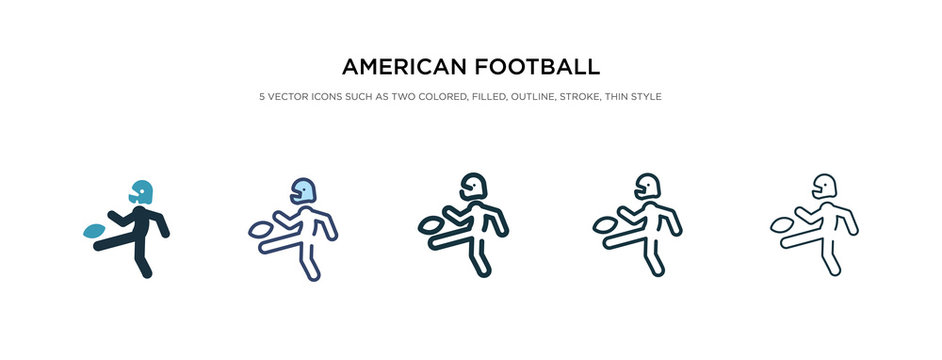 american football player kicking the ball icon in different style vector illustration. two colored and black american football player kicking the ball vector icons designed in filled, outline, line
