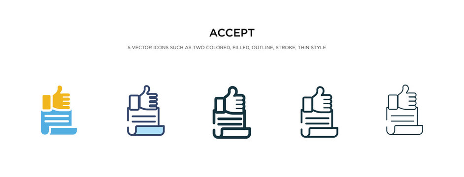 accept icon in different style vector illustration. two colored and black accept vector icons designed in filled, outline, line and stroke style can be used for web, mobile, ui