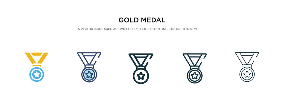 gold medal icon in different style vector illustration. two colored and black gold medal vector icons designed in filled, outline, line and stroke style can be used for web, mobile, ui