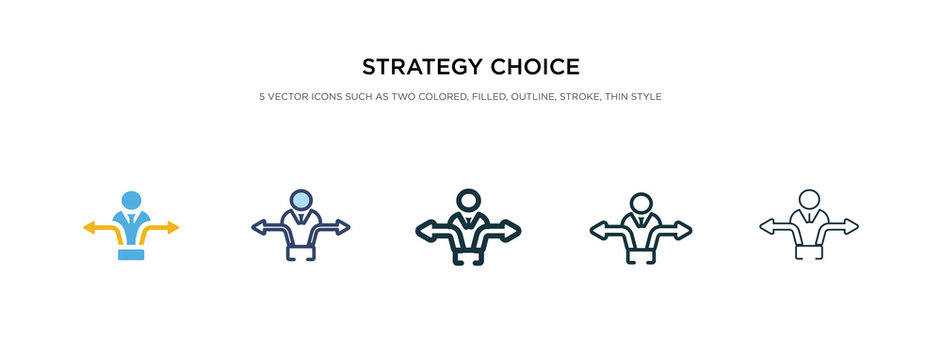 strategy choice icon in different style vector illustration. two colored and black strategy choice vector icons designed in filled, outline, line and stroke style can be used for web, mobile, ui