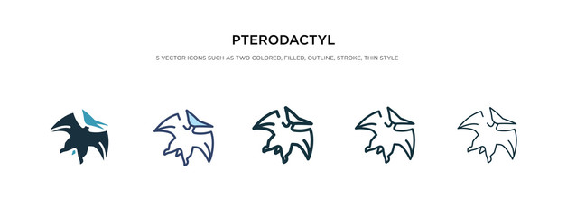 pterodactyl icon in different style vector illustration. two colored and black pterodactyl vector icons designed in filled, outline, line and stroke style can be used for web, mobile, ui