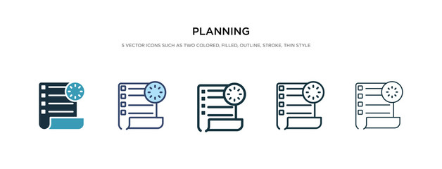 planning icon in different style vector illustration. two colored and black planning vector icons designed in filled, outline, line and stroke style can be used for web, mobile, ui