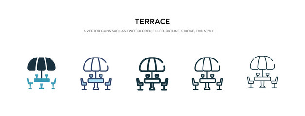 terrace icon in different style vector illustration. two colored and black terrace vector icons designed in filled, outline, line and stroke style can be used for web, mobile, ui