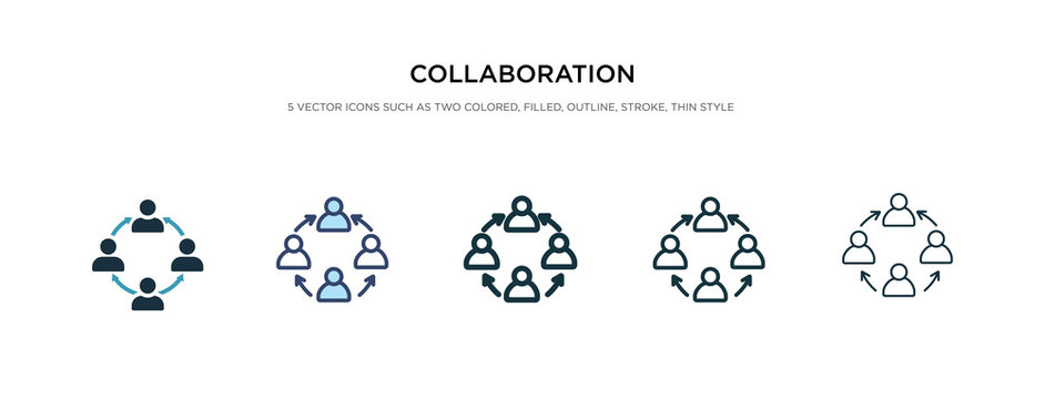 collaboration icon in different style vector illustration. two colored and black collaboration vector icons designed in filled, outline, line and stroke style can be used for web, mobile, ui