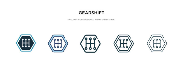 gearshift icon in different style vector illustration. two colored and black gearshift vector icons designed in filled, outline, line and stroke style can be used for web, mobile, ui