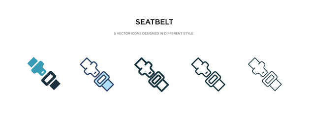 seatbelt icon in different style vector illustration. two colored and black seatbelt vector icons designed in filled, outline, line and stroke style can be used for web, mobile, ui