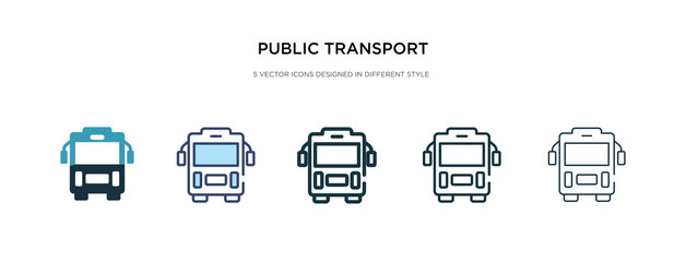 public transport icon in different style vector illustration. two colored and black public transport vector icons designed in filled, outline, line and stroke style can be used for web, mobile, ui