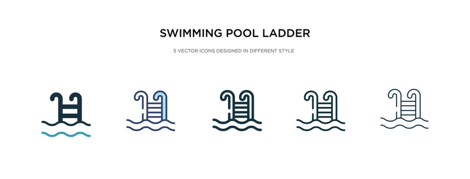 swimming pool ladder icon in different style vector illustration. two colored and black swimming pool ladder vector icons designed in filled, outline, line and stroke style can be used for web,