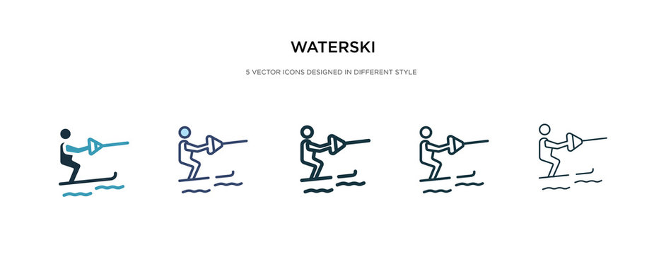waterski icon in different style vector illustration. two colored and black waterski vector icons designed in filled, outline, line and stroke style can be used for web, mobile, ui