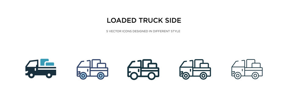loaded truck side view icon in different style vector illustration. two colored and black loaded truck side view vector icons designed in filled, outline, line and stroke style can be used for web,