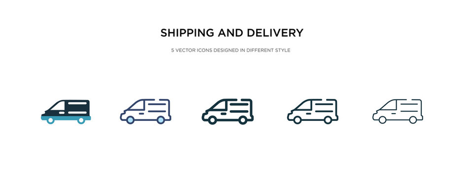 shipping and delivery icon in different style vector illustration. two colored and black shipping and delivery vector icons designed in filled, outline, line stroke style can be used for web,