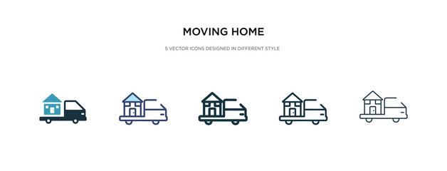 moving home icon in different style vector illustration. two colored and black moving home vector icons designed in filled, outline, line and stroke style can be used for web, mobile, ui