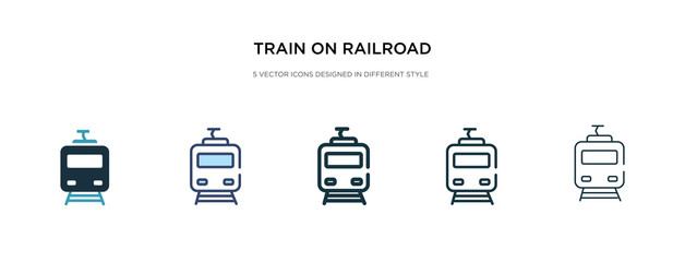 train on railroad icon in different style vector illustration. two colored and black train on railroad vector icons designed in filled, outline, line and stroke style can be used for web, mobile, ui
