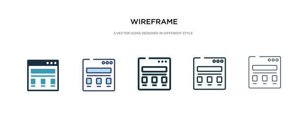 wireframe icon in different style vector illustration. two colored and black wireframe vector icons designed in filled, outline, line and stroke style can be used for web, mobile, ui