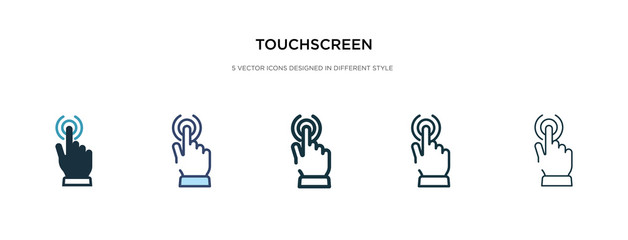 touchscreen icon in different style vector illustration. two colored and black touchscreen vector icons designed in filled, outline, line and stroke style can be used for web, mobile, ui
