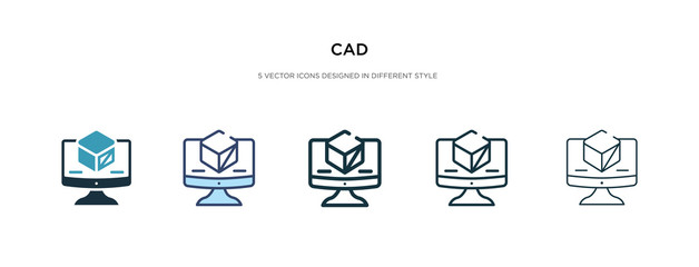 cad icon in different style vector illustration. two colored and black cad vector icons designed in filled, outline, line and stroke style can be used for web, mobile, ui