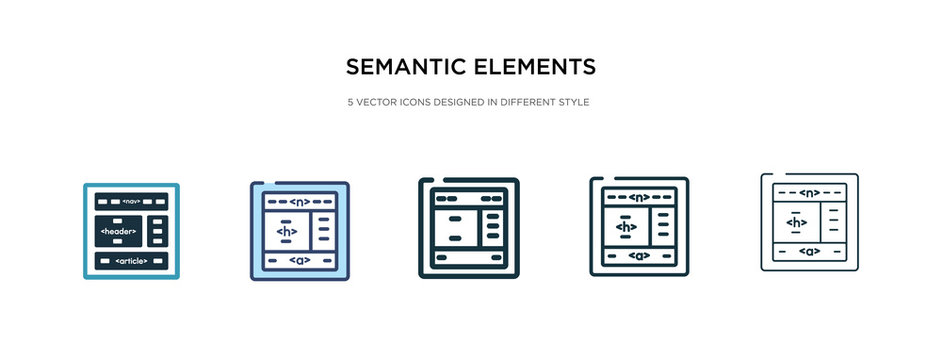 semantic elements icon in different style vector illustration. two colored and black semantic elements vector icons designed in filled, outline, line and stroke style can be used for web, mobile, ui