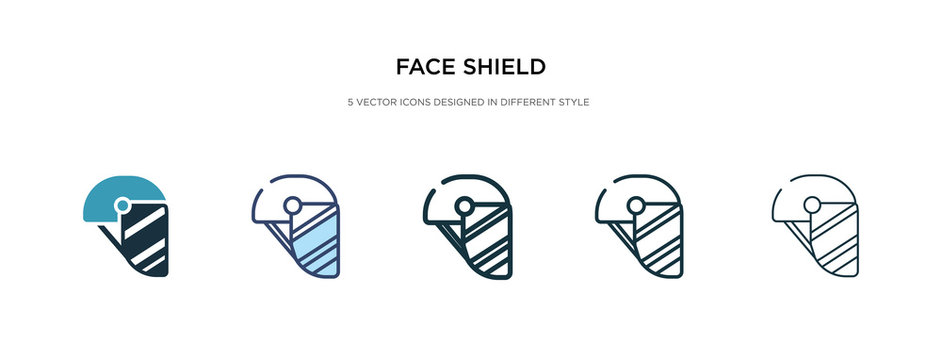 face shield icon in different style vector illustration. two colored and black face shield vector icons designed in filled, outline, line and stroke style can be used for web, mobile, ui