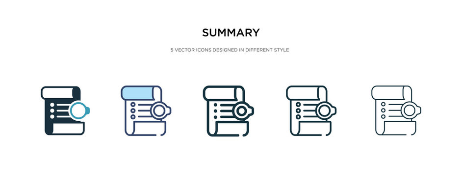 summary icon in different style vector illustration. two colored and black summary vector icons designed in filled, outline, line and stroke style can be used for web, mobile, ui