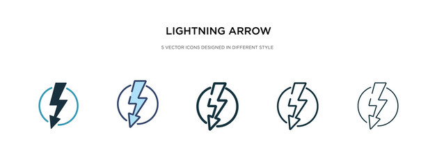 lightning arrow icon in different style vector illustration. two colored and black lightning arrow vector icons designed in filled, outline, line and stroke style can be used for web, mobile, ui
