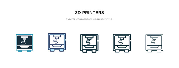 3d printers icon in different style vector illustration. two colored and black 3d printers vector icons designed in filled, outline, line and stroke style can be used for web, mobile, ui