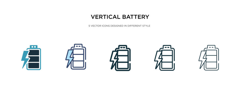 vertical battery with three bars icon in different style vector illustration. two colored and black vertical battery with three bars vector icons designed in filled, outline, line and stroke style