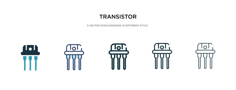 transistor icon in different style vector illustration. two colored and black transistor vector icons designed in filled, outline, line and stroke style can be used for web, mobile, ui