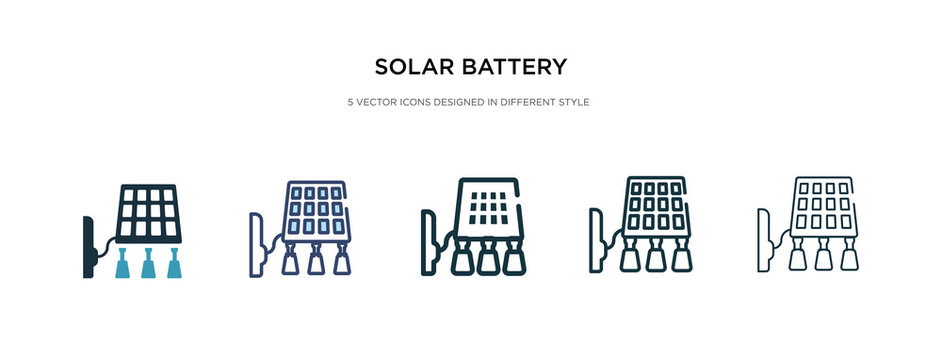solar battery icon in different style vector illustration. two colored and black solar battery vector icons designed in filled, outline, line and stroke style can be used for web, mobile, ui