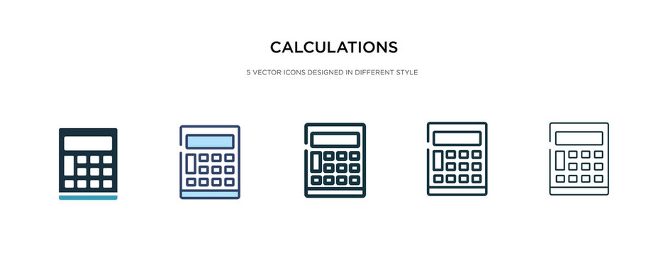 calculations icon in different style vector illustration. two colored and black calculations vector icons designed in filled, outline, line and stroke style can be used for web, mobile, ui