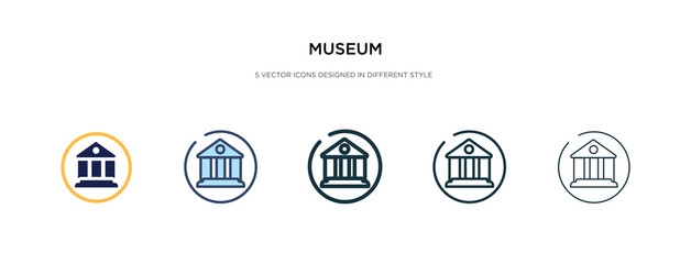 museum icon in different style vector illustration. two colored and black museum vector icons designed in filled, outline, line and stroke style can be used for web, mobile, ui