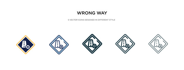 wrong way icon in different style vector illustration. two colored and black wrong way vector icons designed in filled, outline, line and stroke style can be used for web, mobile, ui