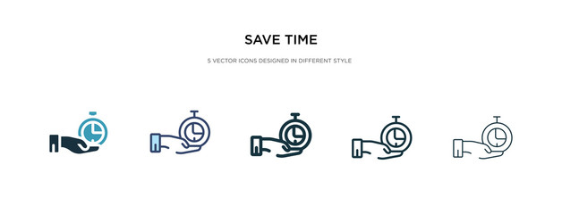 save time icon in different style vector illustration. two colored and black save time vector icons designed in filled, outline, line and stroke style can be used for web, mobile, ui